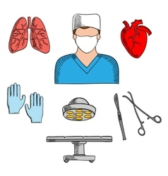 Surgeon profession and medical icons vector