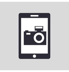 Tablet hand hold with camera picture vector