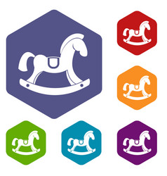 Toy horse icons set hexagon vector