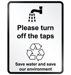 Turn off water Information Sign vector image