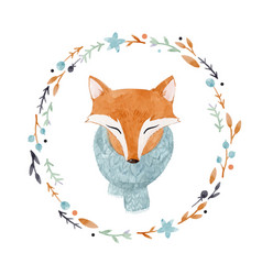 watercolor fox portrait vector image