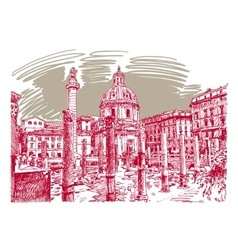 Original sketch hand drawing of rome italy famous vector