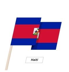 Haiti ribbon waving flag isolated on white vector
