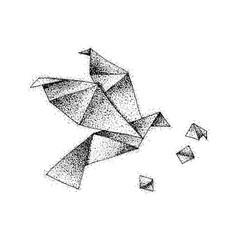 dotwork origami bird vector image