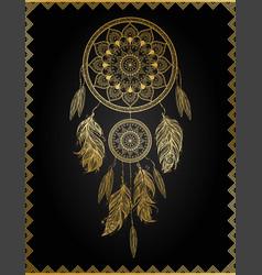 golden dreamcatcher vector image