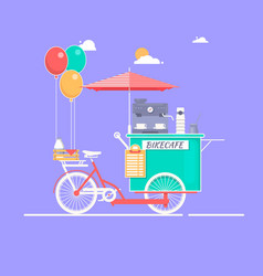 Coffee house on bicycle on the vector