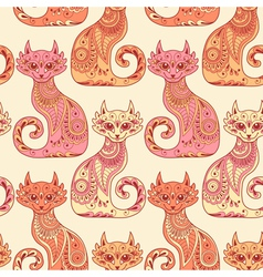 Seamless pattern with beautiful cats vector