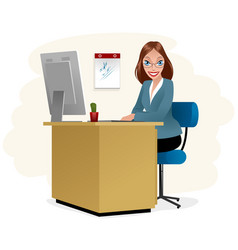 Secretary at workplace vector
