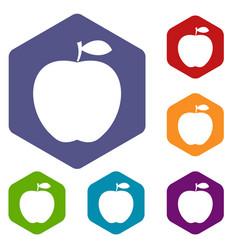 apple icons set hexagon vector image