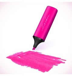 Pink marker with drawn spot vector