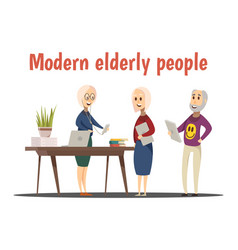 Modern elderly people composition vector