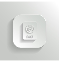 Passport icon - white app button vector