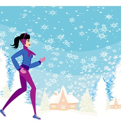 Slim girl running in winter vector