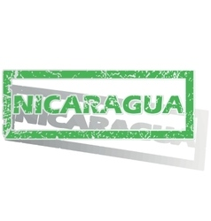 Green outlined nicaragua stamp vector