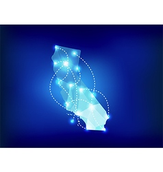 California state map polygonal with spotlights vector