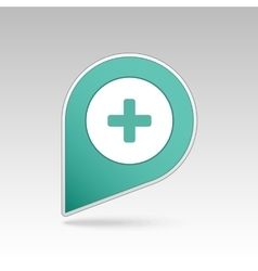 Plus hospital pharmacy clinic pin map icon vector