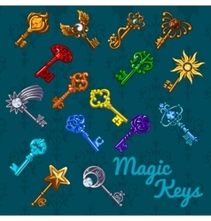 Big colorful magical set of keys vector