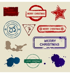 merry christmas stamps vector image