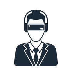 Virtual reality icon men with glasses and headset vector