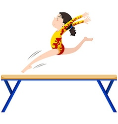 Gymnastics on balance beam vector