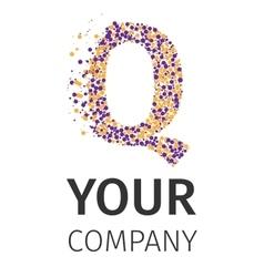 Alphabet particles logotype Letter-Q vector image