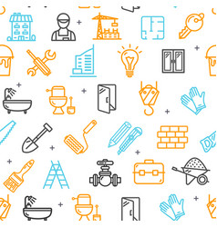 building construction elements and tools pattern vector image vector image