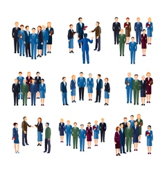 Business People Groups Flat Icons Collection vector image