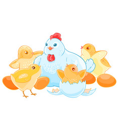 Cartoon mother hen sits on the eggs brood of cute vector