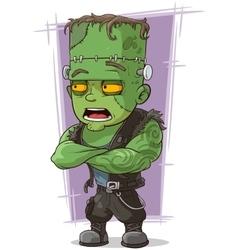 Cartoon scary green monster frankenstein vector