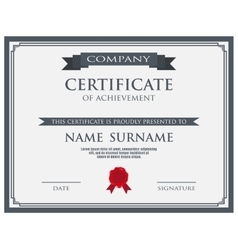Certificate with wax seal template vector image vector image