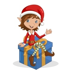 Christmas elf sitting on gift vector