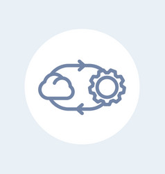 Cloud technology line icon isolated over white vector