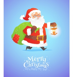 Cute santa claus with sack isolated on background vector