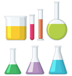 different shapes of beakers vector image vector image