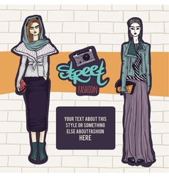Double street fashion look vector image vector image