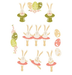 Easter bunnies Easter set vector image vector image