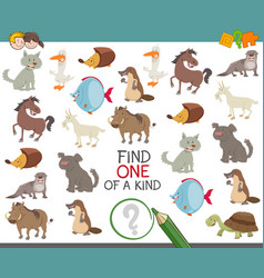 Find one of a kind with animal characters vector