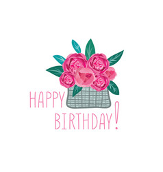 Flower in basket happy birthday greeting card vector