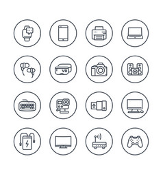 Gadgets modern devices electronics line icons vector