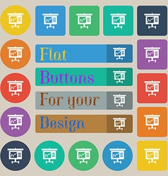 Graph icon sign set of twenty colored flat round vector