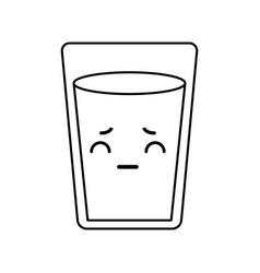 Kawaii water glass vector