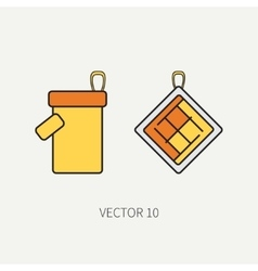 Line color kitchenware icons - oven-glove vector image vector image