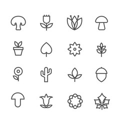 linear nature icons thin line flowers and vector image vector image