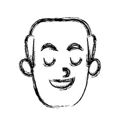 man smiling with eyes closed vector image
