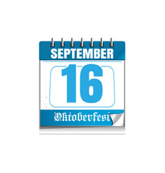 oktoberfest 2017 calendar with a festive date vector image vector image