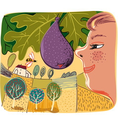 Orchard with ripe fig vector