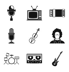 public icons set simple style vector image vector image