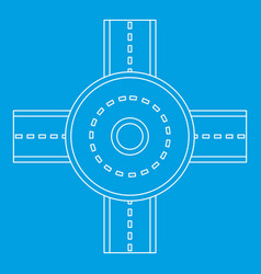 Road junction icon outline style vector