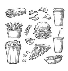 Set fast food coffee hamburger pizza hotdog vector