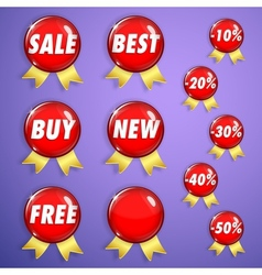 Set of red shiny badges with ribbons on sale vector image vector image